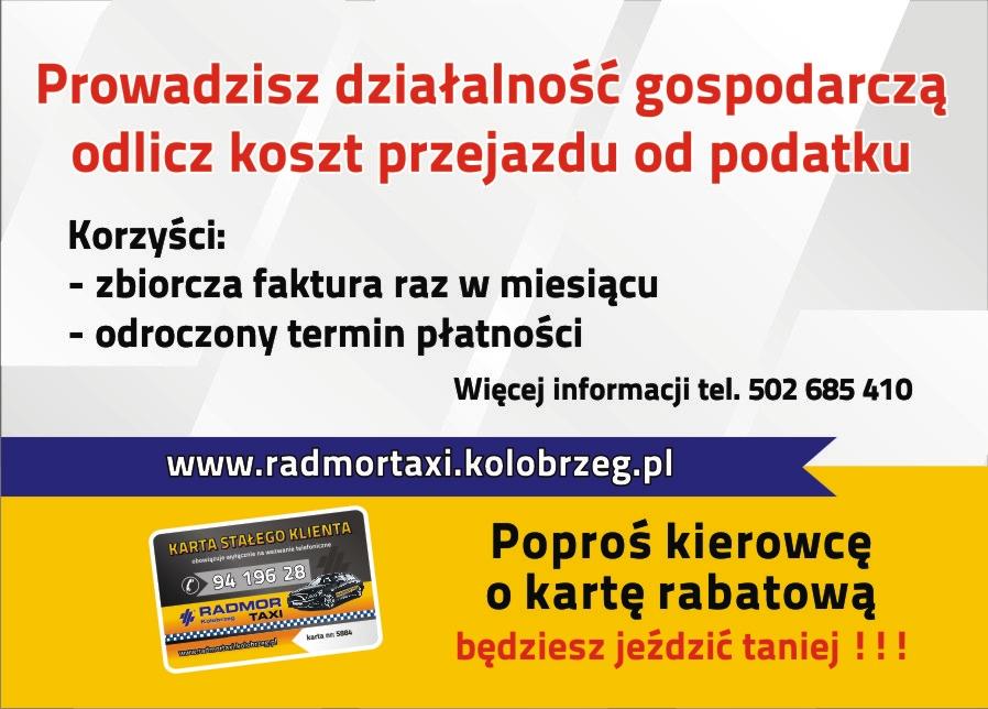24/7 TAXI tel.: (94) 196-28. Radmor i Nord Taxi Kołobrzeg.  Oferta usług bezgotówkowych.